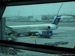 A Saudi Arabian (now Saudia) MD-82 at the gate being prepped for her flight back to the kingdom