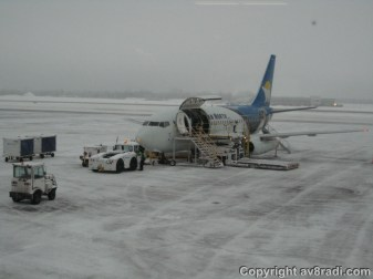 A Canadian North Boeing 737-200 being prepared for her flight