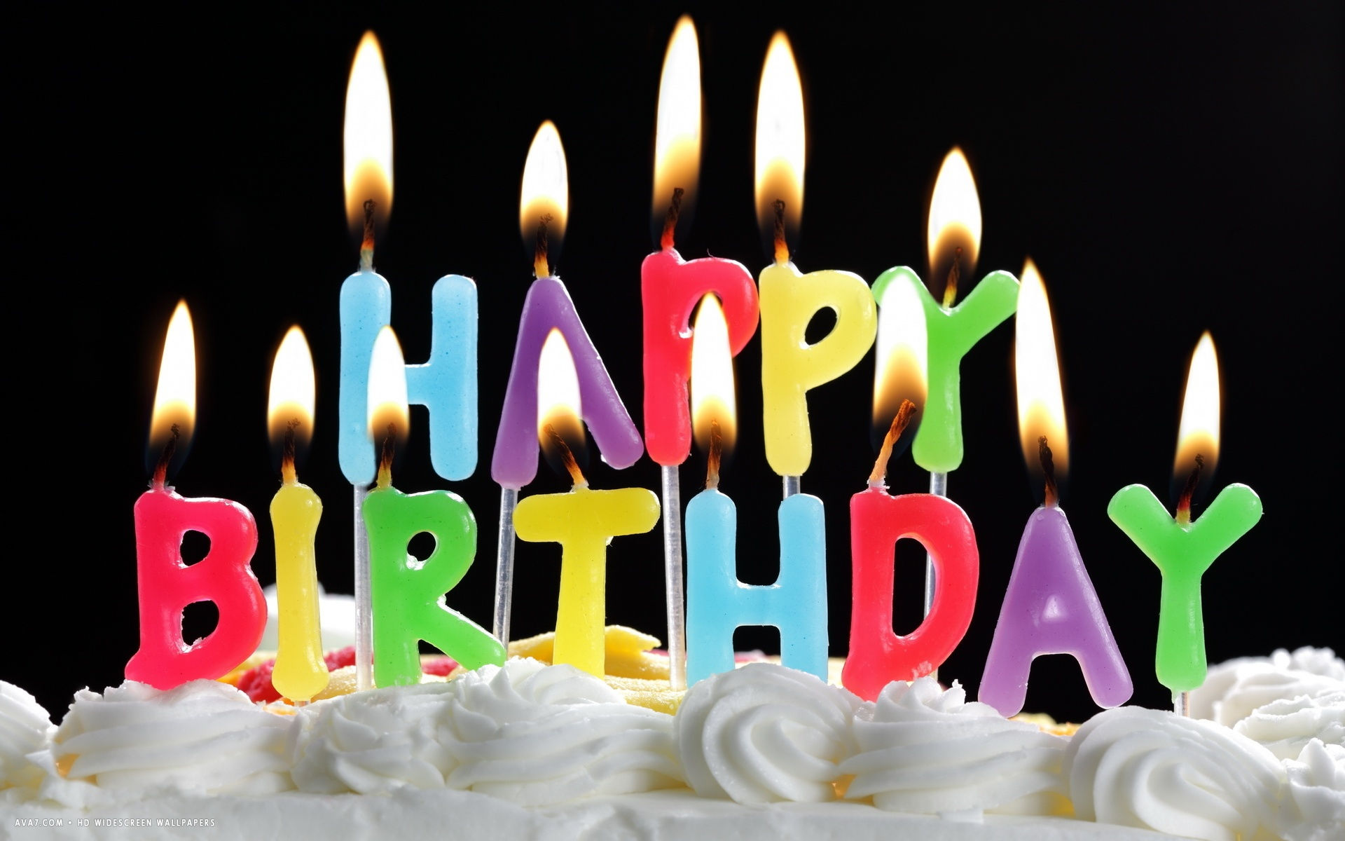Happy Birthday Colorful Letter Candles White Cake Hd Widescreen