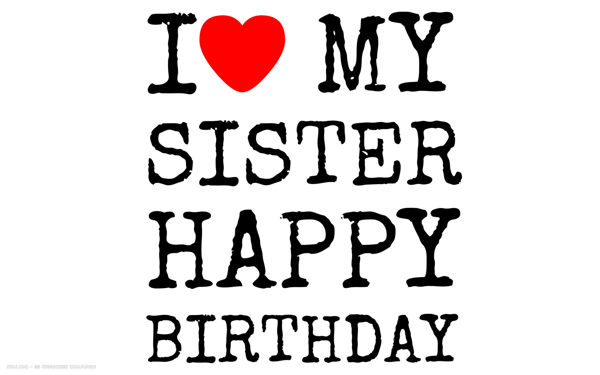 happy birthday i love my sister text simple hd widescreen