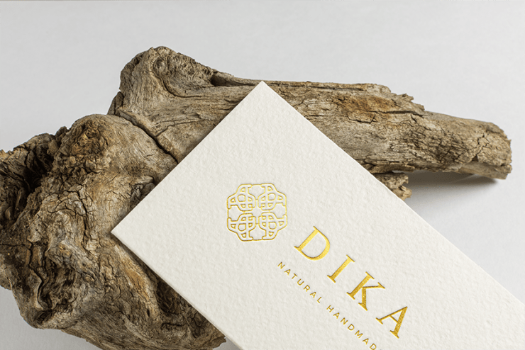 gold foil embossed logo on matte business cards