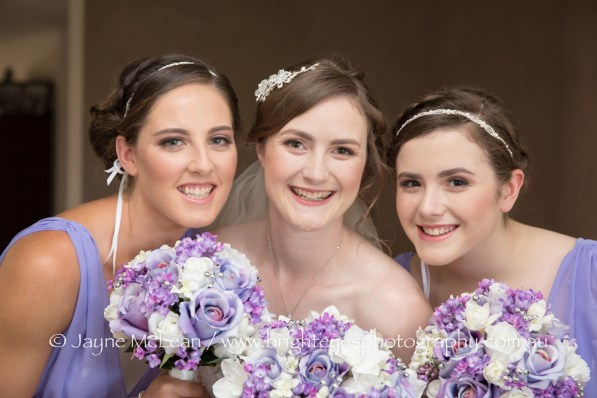 natural bride and bridesmaid hair and makeup