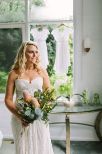 Melbourne Boho Bride hair and makeup wearing ruedeseine bridal lace gown