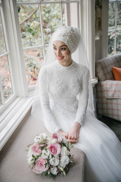 Melbourne bride wearing hijab and pure white wedding gown