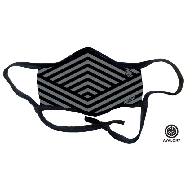 avalon7 grey geoglyph striped social distancing facemask