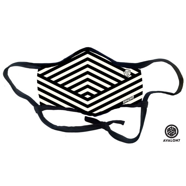 AVALON7 geoglyph striped artist designed facemask