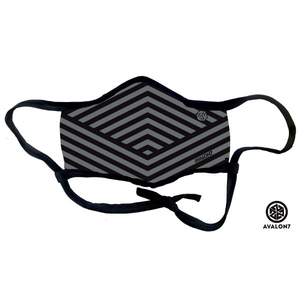 Avalon7 Grey Geometric Stripe Mask