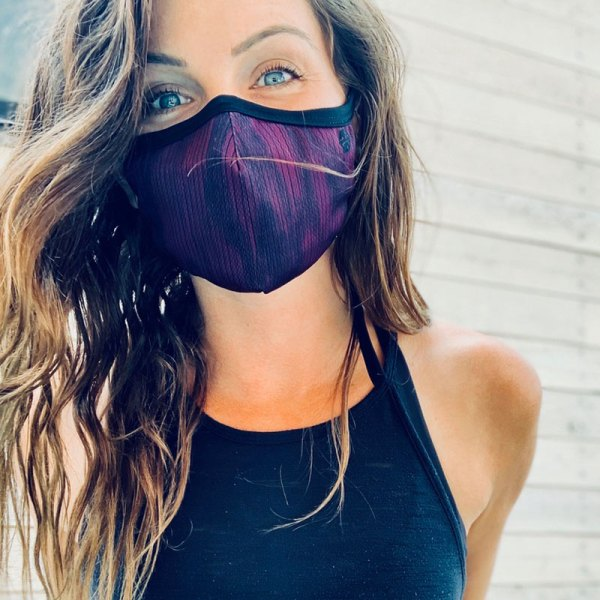 Dark purple social distancing facemask with 3 layers and adjustable earloops