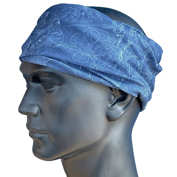 AVALON7 Blue flowers illustrated head band by Katie Cooney Jackson Hole Wy