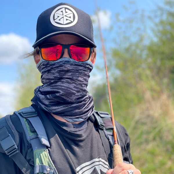 Water Camo Mesh Neck Gaiter for flyfishing, hiking, and snowboarding