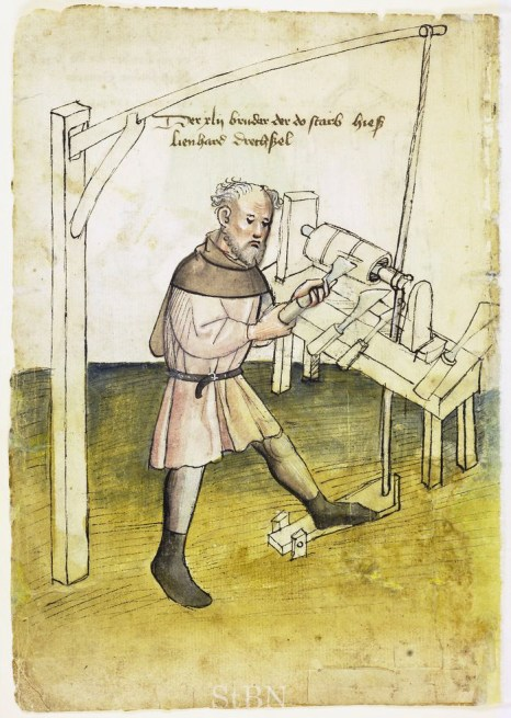 This image found in Mendelsches Bruderbuch dating from 1395, shows a much more robust pole lathe and a man turning what could be a wheel hub