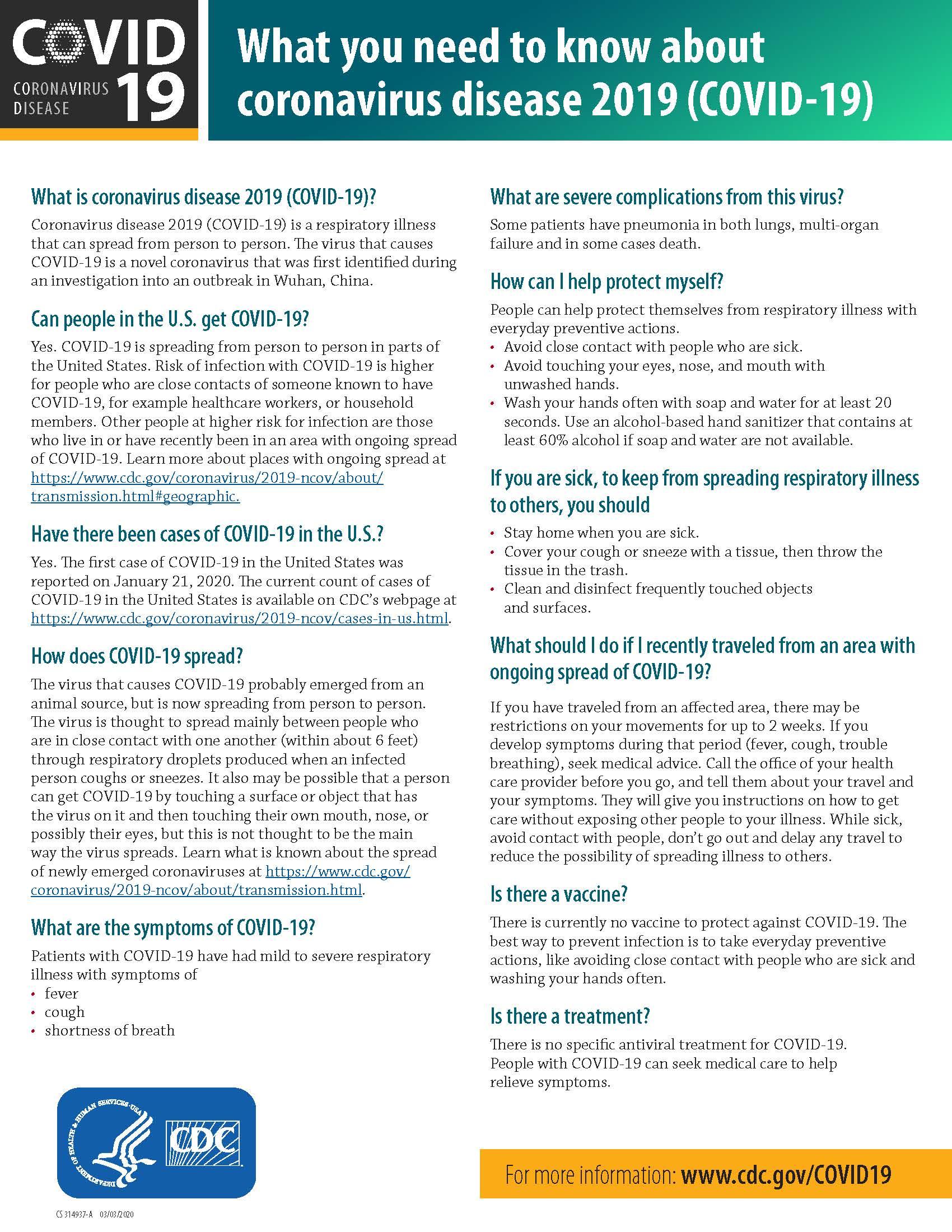 Centers For Disease Control Fact Sheet: Covid-19 (Coronavirus ...