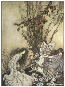 Dancing with the Fairies by Arthur Rackham, 1906, from 120 Great Fairy Paintings