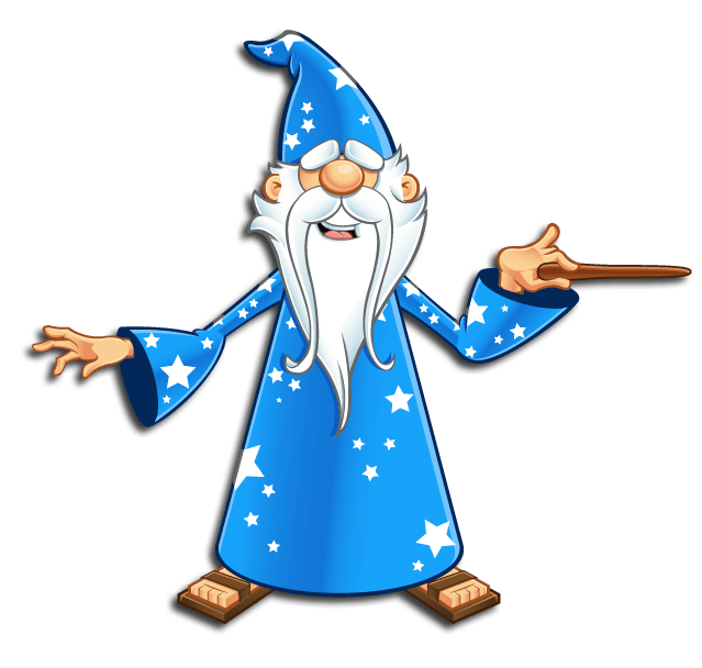 Avalon Web Designs | Merlin Web Wizard Mascot - Pointing Magic Wand Right