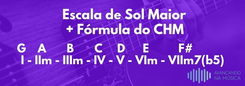 Aplicando a fórmula do campo harmônico em sol maior
