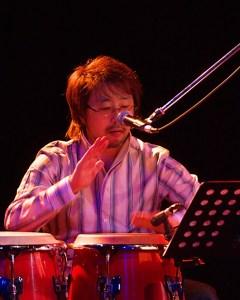 Junnosuke Nishio is playing percussion.