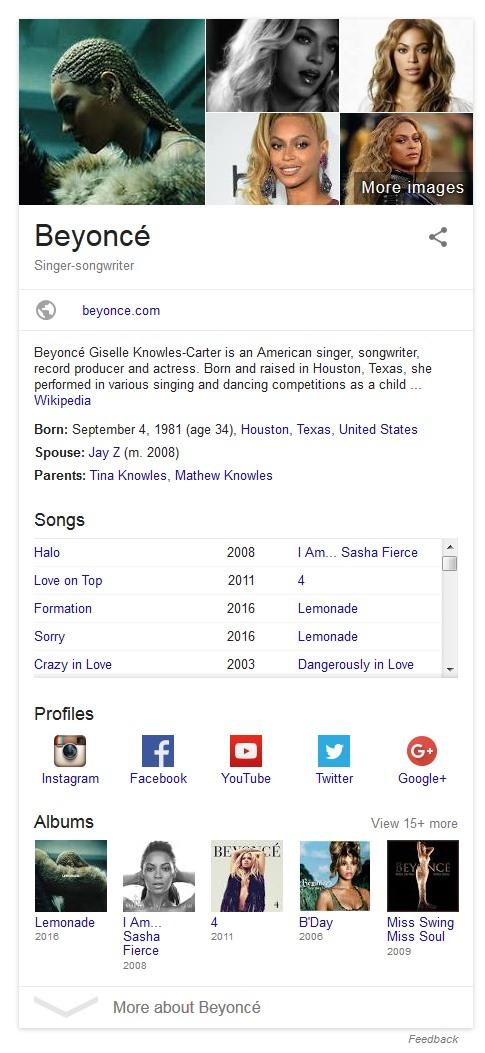 Beyonce knowledge panel serp
