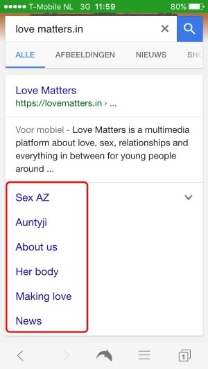 Love Matters Sitelinks mobile