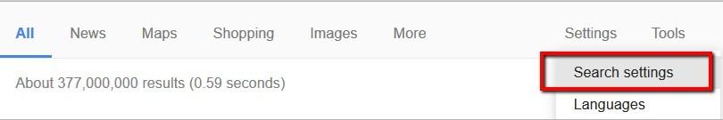 Google Search settings