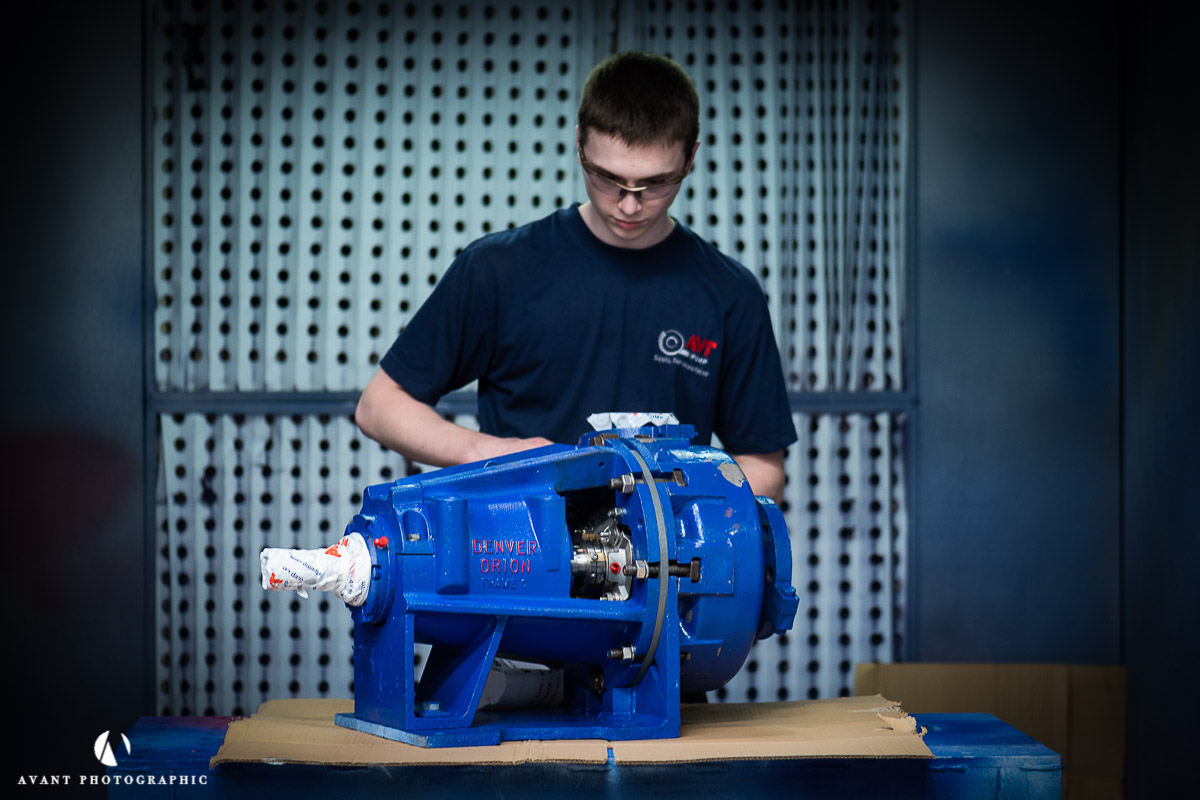 Avant photo Phil Burrowes Photographer Eastbourne a shot of an engineer servicing an industrial pump
