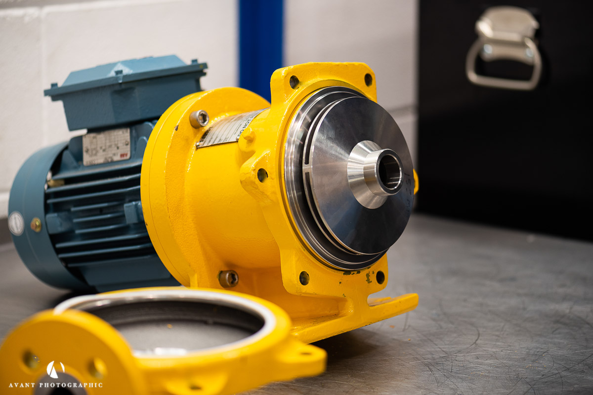 Avant Commercial photographer Phil Burrowes Day in the life photoshoot Yellow HMD Kontro sealess pump on work bench