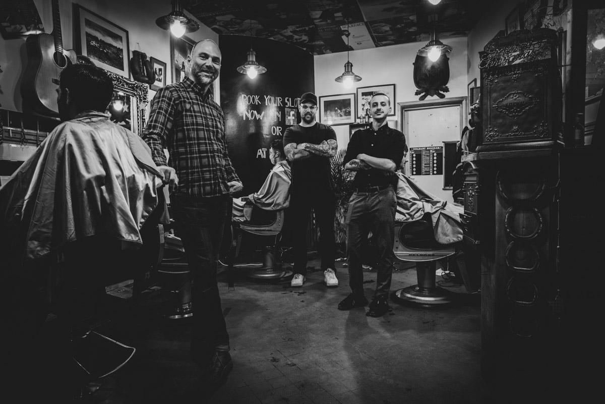 Crew shot - Richard haven barbers Eastbourne classic barbers shop Avantphoto Eastbourne photographer Phil Burrowes