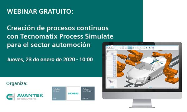 Webinar sobre creación de procesos continuos con Tecnomatix Process Simulate para el sector automoción