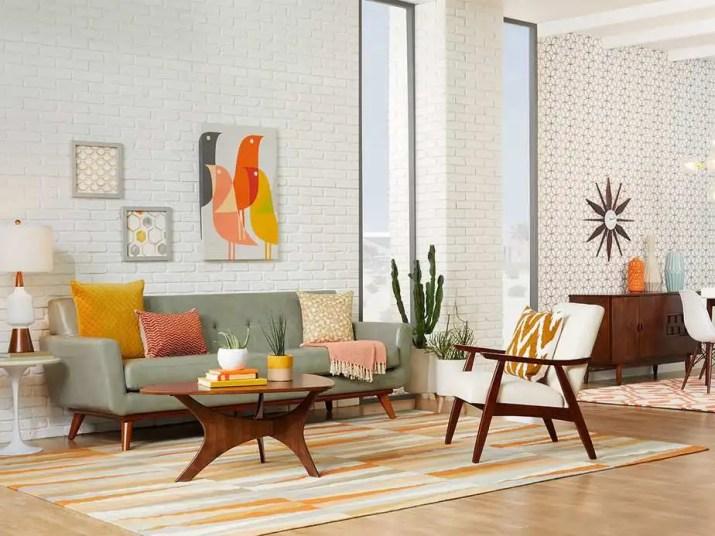 Bright Mid Century Modern Living Room. Source: Overstock.com