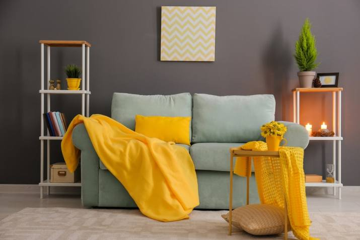 Striking Grey and Yellow Living Room