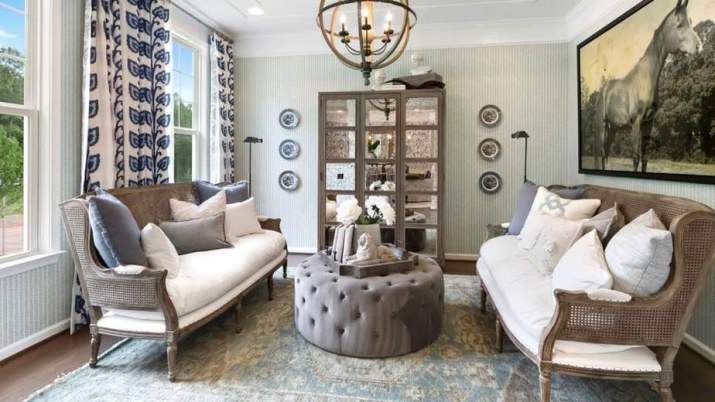 Conventional French Country Living Room.
