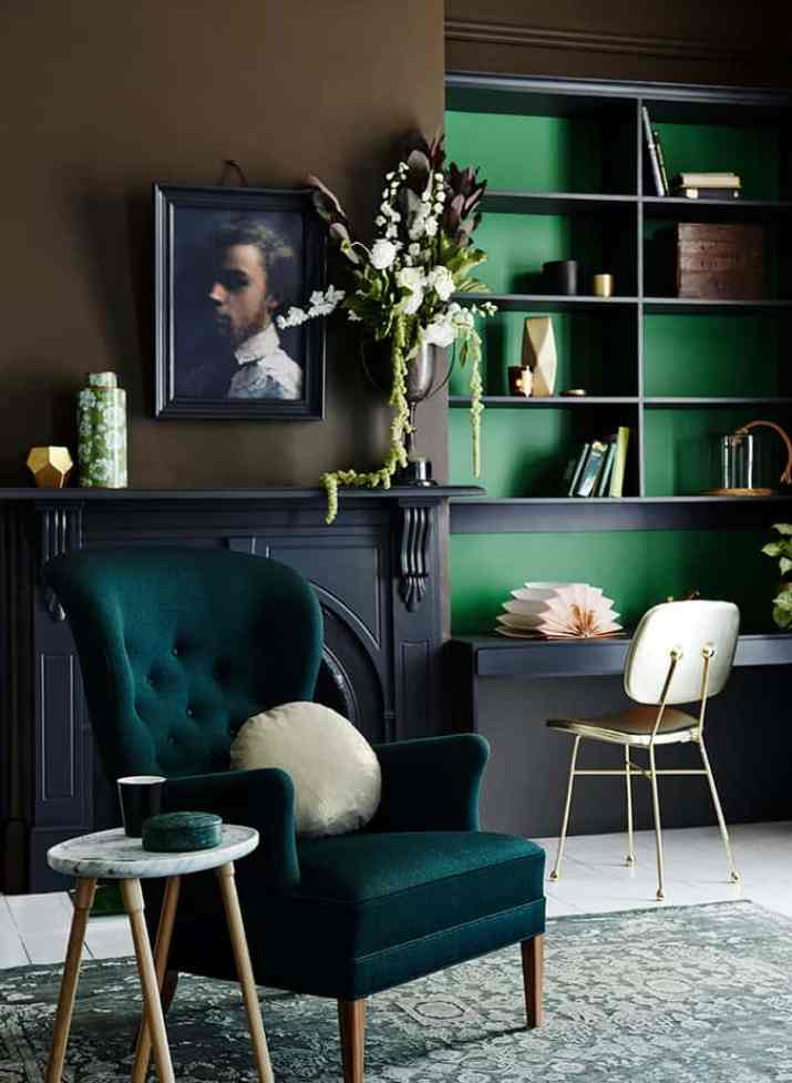 Dramatic Feeling in Teal Living Space