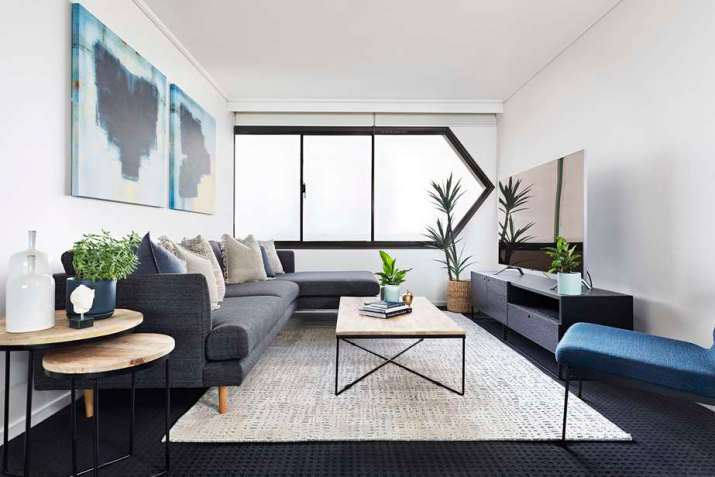 Fresh, Minimalist Grey and Blue Living Room