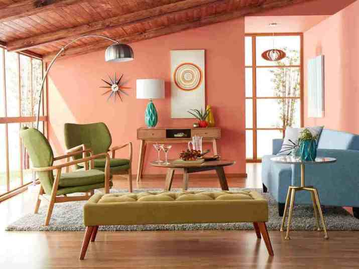 Pastel-Colored Mid Century Modern Living Room. Source: donpedrobrooklyn.com