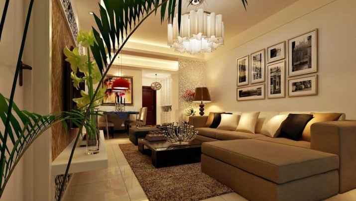 Minimalist Living Room Dining Room Combo Model.