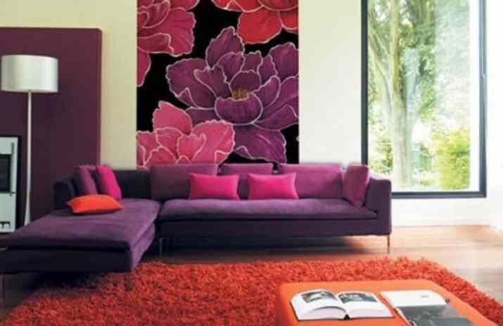 Casual Purple Living Room