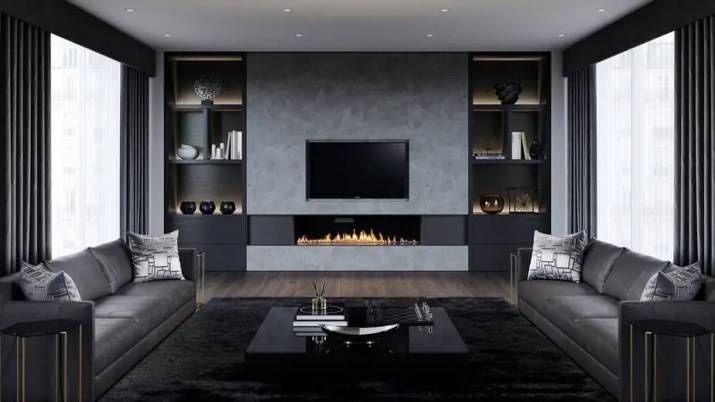Modern Fireplace in Black and Grey Living Room