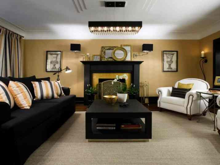 Luxurious Fireplace in Black and Gold Living Room