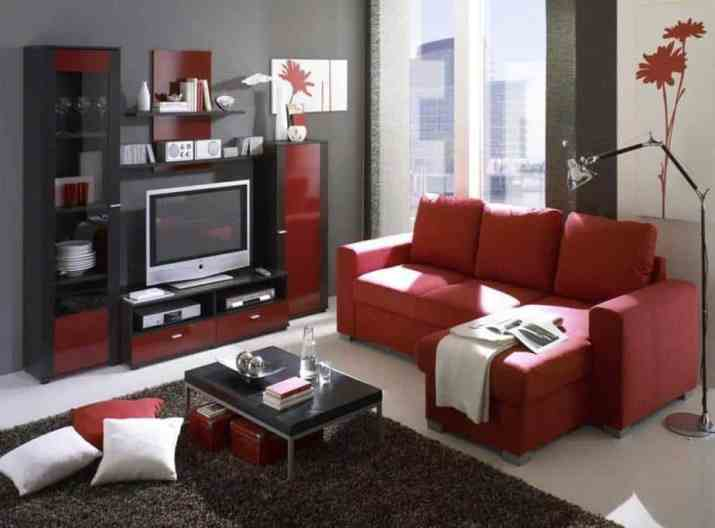 Cool Red and Black Modern Living Space