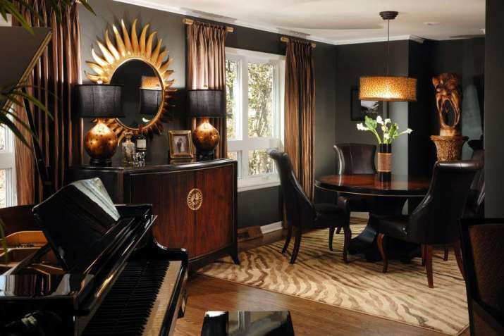 Dramatic Black and Gold Living Space