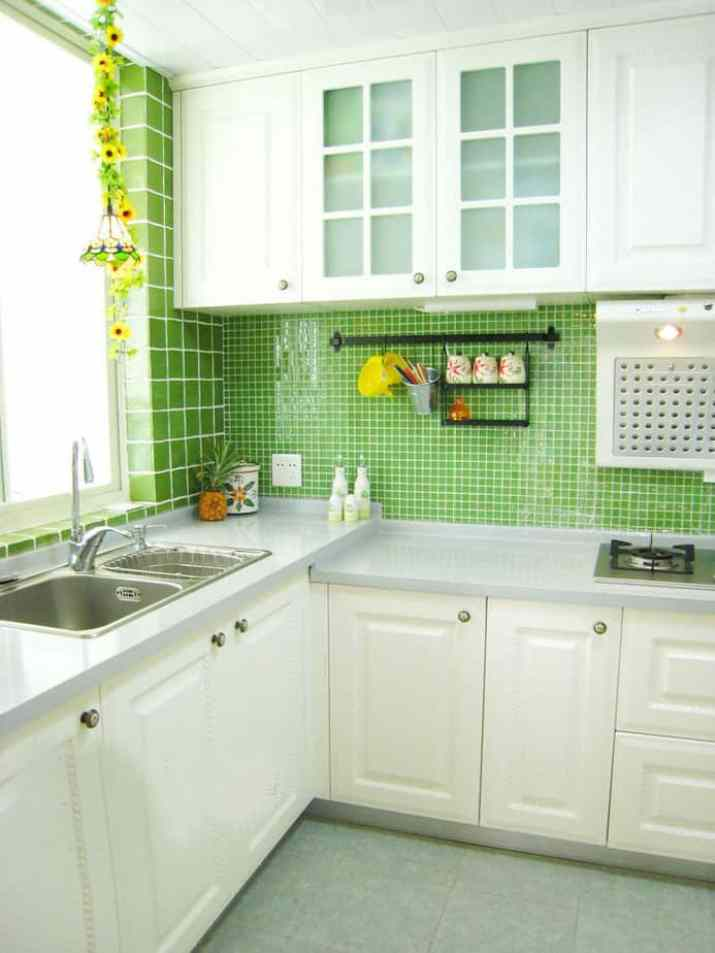 Fresh, Galley Kitchen Backsplash