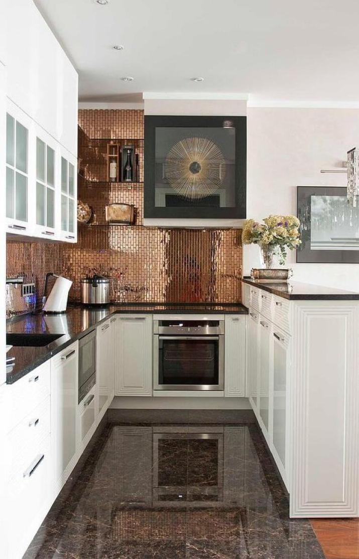 Glowing, Galley Kitchen Backsplash