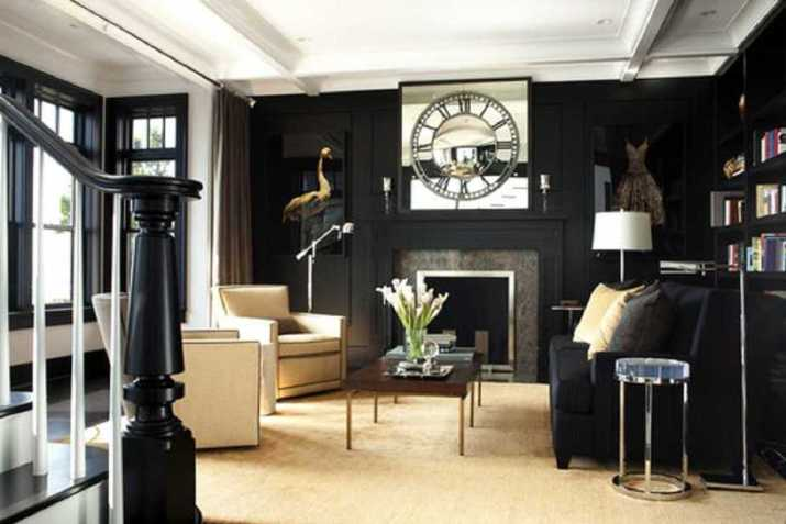 Graceful Black and Gold Living Area