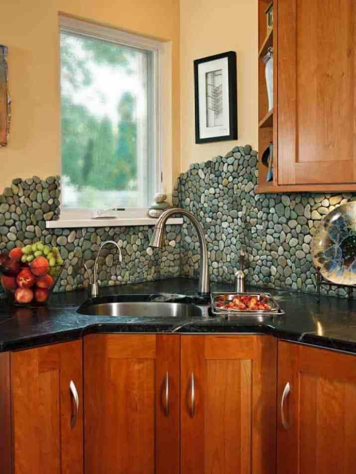 Pebble and Concrete Wall as DIY Backsplash