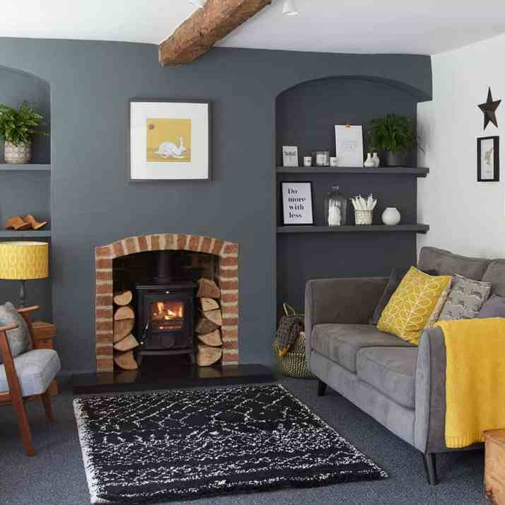 Relaxed Grey and Yellow Living Room