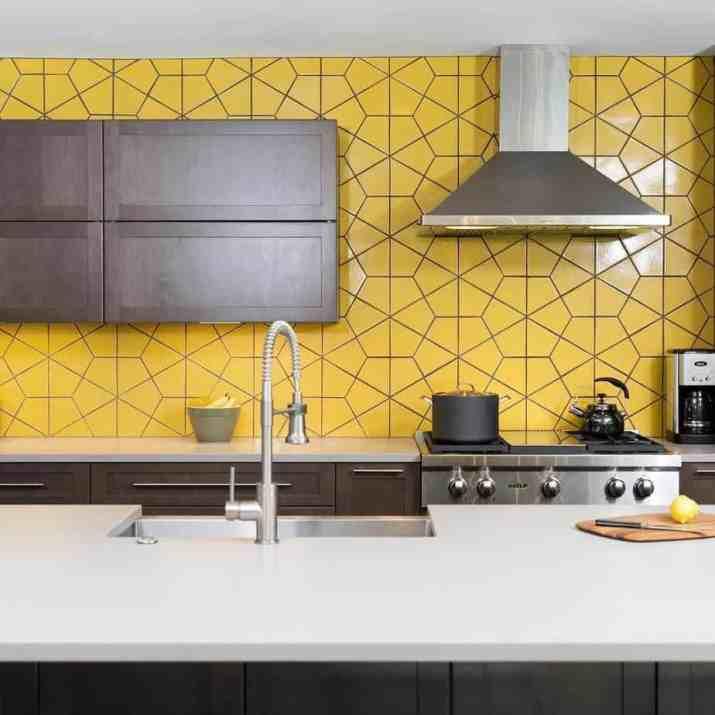 Stylish, Yellow Kitchen Backsplash