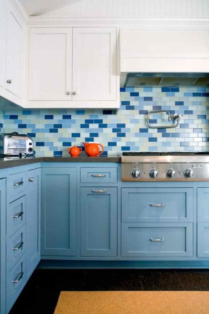 Bright Two Toned Kitchen Cabinet
