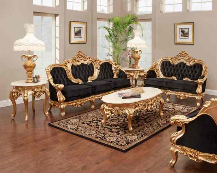 Vintage Black and Gold Living Room