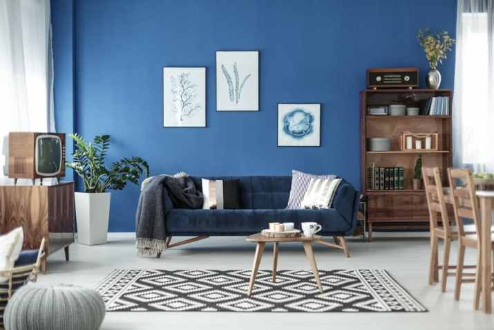 Grey and Blue Mid Century Living Room