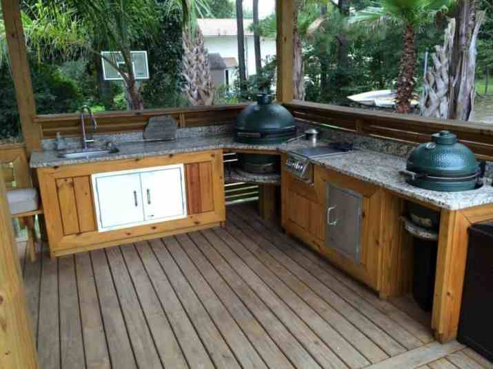 Double Big Green Egg Outdoor Kitchen