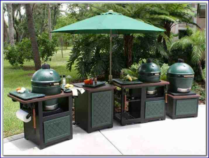 Triple Big Green Egg Outdoor Kitchen